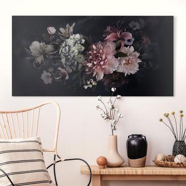 Leinwandbild - Blumen mit Nebel auf Schwarz - Querformat 1:2