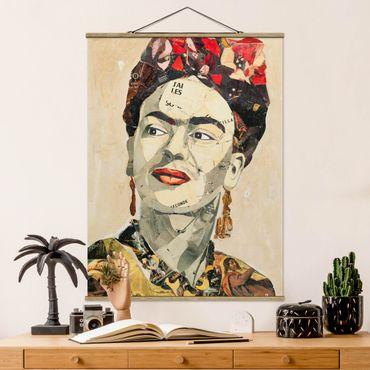 Stoffbild mit Posterleisten - Frida Kahlo - Collage No.2 - Hochformat 4:3