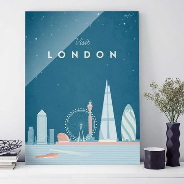 Glasbild - Reiseposter - London - Hochformat 4:3