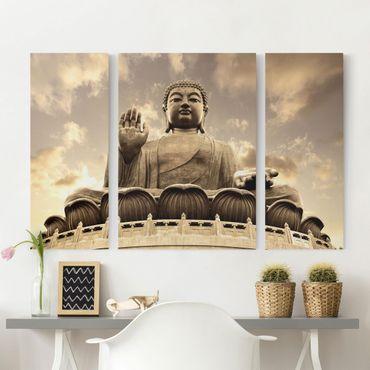 Leinwandbild 3-teilig - Großer Buddha sepia - Triptychon