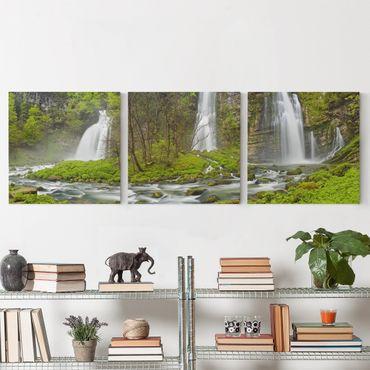 Leinwandbild 3-teilig - Wasserfälle Cascade de Flumen - Quadrate 1:1
