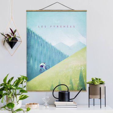 Stoffbild mit Posterleisten - Reiseposter - Die Pyrenäen - Hochformat 4:3