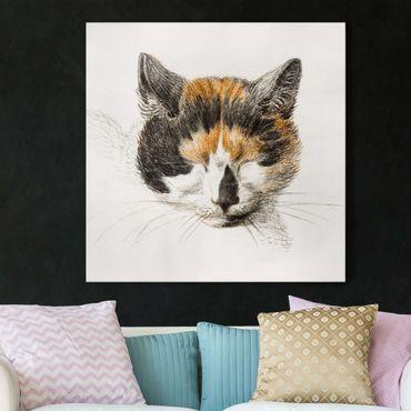 Leinwandbild - Vintage Zeichnung Katze IV - Quadrat 1:1