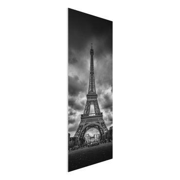 Forex Fine Art Print - Eiffelturm vor Wolken schwarz-weiß - Panel