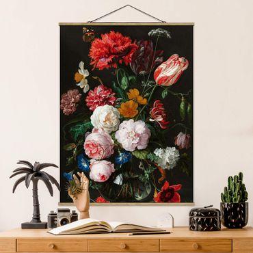 Stoffbild mit Posterleisten - Jan Davidsz de Heem - Stillleben mit Blumen in einer Glasvase - Hochformat 3:4