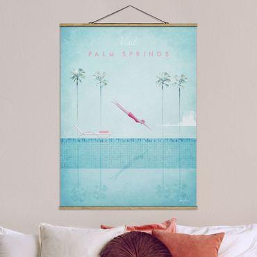 Stoffbild mit Posterleisten - Reiseposter - Palm Springs - Hochformat 4:3