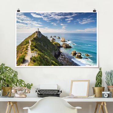 Poster - Nugget Point Leuchtturm und Meer Neuseeland - Querformat 2:3