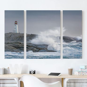 Leinwandbild 3-teilig - Sturmwellen am Leuchtturm - Triptychon
