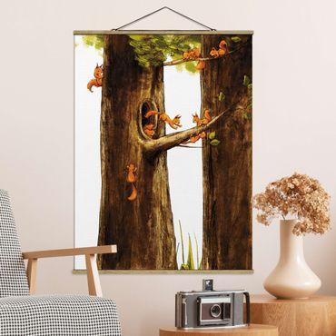 Stoffbild mit Posterleisten - Zuhause der Einhörnchen - Hochformat 4:3