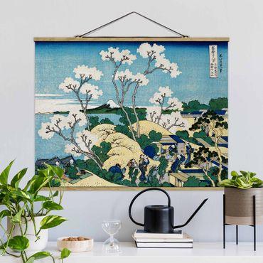 Stoffbild mit Posterleisten - Katsushika Hokusai - Der Fuji von Gotenyama - Querformat 4:3