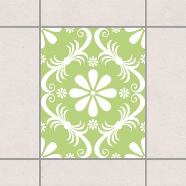 Fliesenaufkleber - Blumendesign Sring Green Grün