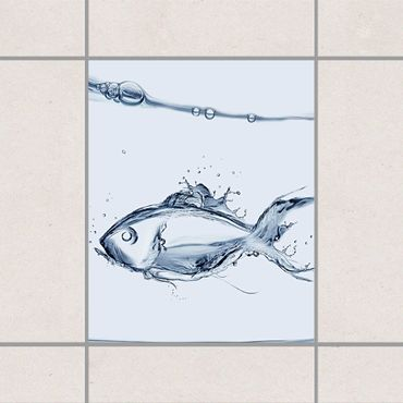 Fliesenaufkleber - Liquid Silver Fish