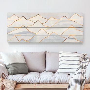 Holzbild - Elisabeth Fredriksson - Aquarell Berge Weiß Gold - Querformat 2:5