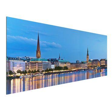 Alu-Dibond Bild - Hamburg Skyline