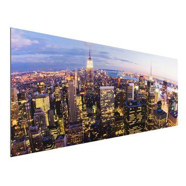 Alu-Dibond Bild - New York Skyline bei Nacht