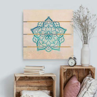 Holzbild - Mandala Illustration Mandala gold blau - Quadrat 1:1