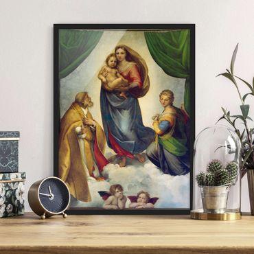 Bild mit Rahmen - Raffael - Die Sixtinische Madonna - Hochformat 3:4