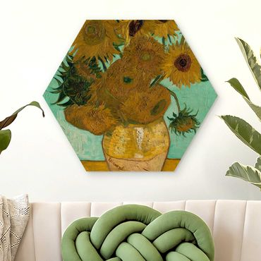Hexagon Bild Holz - Vincent van Gogh - Vase mit Sonnenblumen
