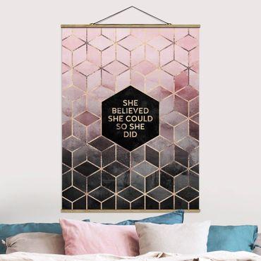 Stoffbild mit Posterleisten - Elisabeth Fredriksson - She Believed She Could Rosé Gold - Hochformat 4:3