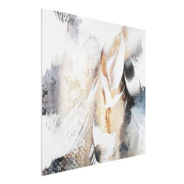 Forex Fine Art Print - Goldene abstrakte Wintermalerei - Quadrat 1:1