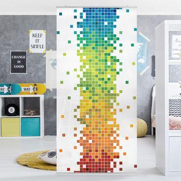 Raumteiler Kinderzimmer - Pixel-Regenbogen 250x120cm