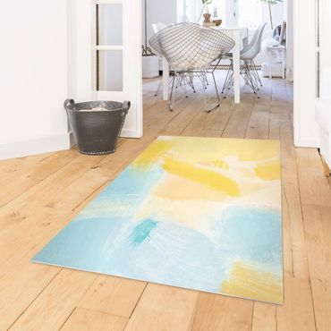 Vinyl-Teppich - Frühlingskomposition in Gelb und Blau - Hochformat 3:4