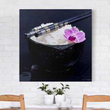 Leinwandbild - Reisschale mit Orchidee - Quadrat 1:1