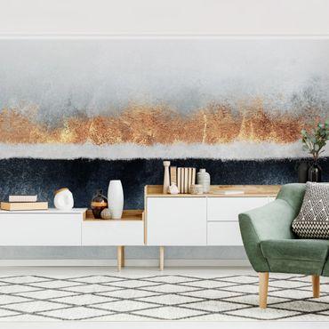 Fototapete - Goldener Horizont Aquarell - Fototapete Quadrat