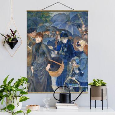 Stoffbild mit Posterleisten - Auguste Renoir - Die Regenschirme - Hochformat 3:4