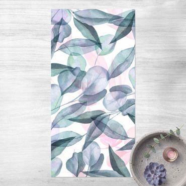 Vinyl-Teppich - Blaue und Rosane Eukalyptus Aquarellblätter - Hochformat 1:2
