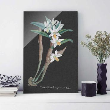 Glasbild - Weiße Orchidee auf Leinen I - Hochformat 3:2
