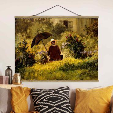 Stoffbild mit Posterleisten - Carl Spitzweg - Der Maler im Garten - Querformat 3:4