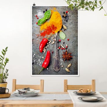 Poster - Löffel mit Gewürzen - Hochformat 3:2