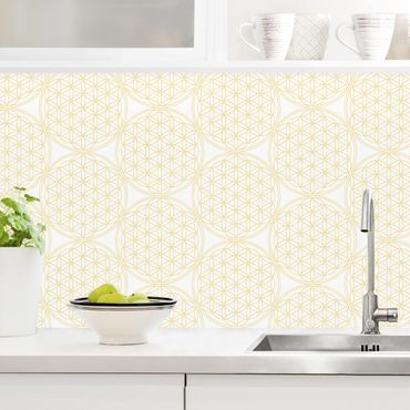 Küchenrückwand - Blume des Lebens Pattern gold