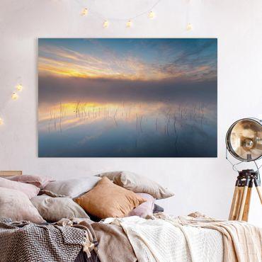 Leinwandbild - Sonnenaufgang schwedischer See - Querformat 2:3