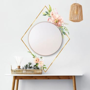 Wandtattoo - Aquarell Rosa Blüten Gold Rahmen XXL