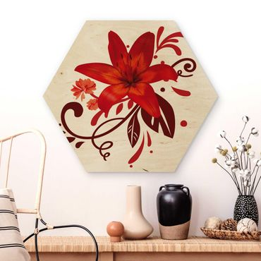 Hexagon Bild Holz - No.BP7 Lilientraum red
