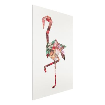 Forex Fine Art Print - Jonas Loose - Origami Flamingo - Hochformat 3:2