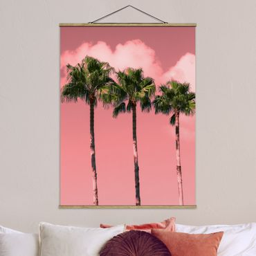 Stoffbild mit Posterleisten - Palmen vor Himmel Rosa - Hochformat 4:3
