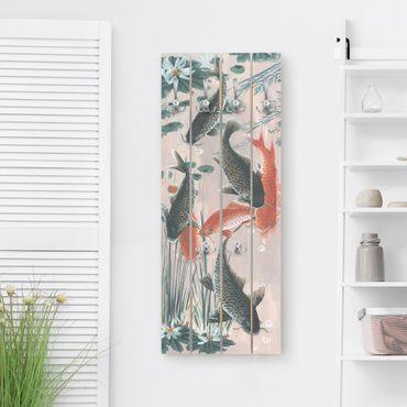 Wandgarderobe Holz - Asiatische Malerei Kois im Teich II - Haken chrom Hochformat