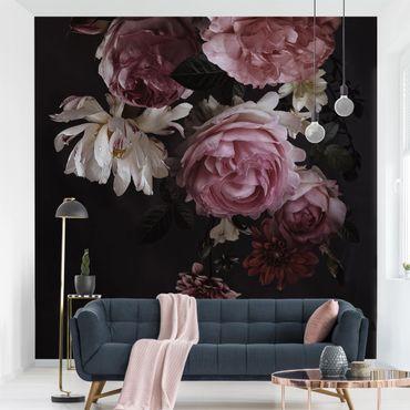 Fototapete - Rosa Blumen auf Schwarz