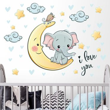 Wandtattoo - Elefant Mond I love You