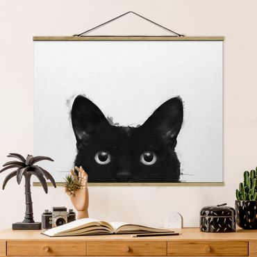 Stoffbild mit Posterleisten - Laura Graves - Illustration Schwarze Katze auf Weiß Malerei - Querformat 4:3