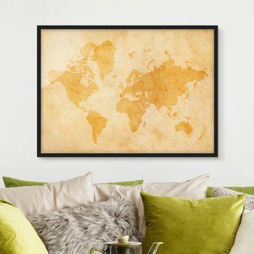 Bild mit Rahmen - Vintage Weltkarte - Querformat 3:4