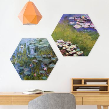 Hexagon Bild Forex 2-teilig - Claude Monet - Seerosen Set