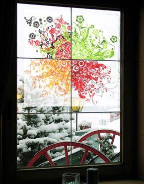 Fensterfolie - Sichtschutz Fenster Retro Flowers - Fensterbilder
