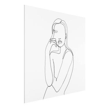 Forex Fine Art Print - Line Art Nachdenkliche Frau Schwarz Weiß - Quadrat 1:1