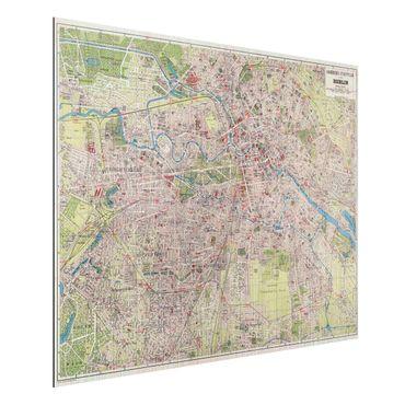 Aluminium Print gebürstet - Vintage Stadtplan Berlin - Querformat 3:4