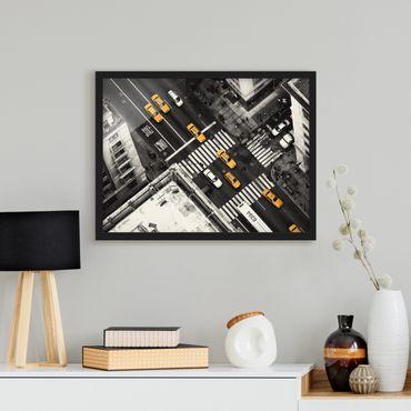 Bild mit Rahmen - New York City Cabs - Querformat 3:4