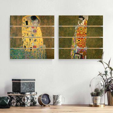 Holzbild 2-teilig - Gustav Klimt - Kuss und Hoffnung - Quadrate 1:1